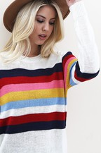 Multi Color Stripes across Body & Sleeve Knit Sweater