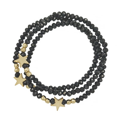 Jewelry Bracelet Set of 3 Black and Gold Star Stretch Bracelet