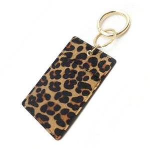Key Ring: Cheetah Print Genuine Leather Wallet Key Ring with Pocket