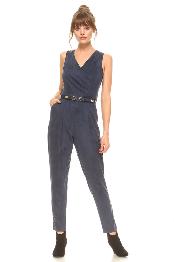 Navy Blue Pant Romper with V-Neck & Sleeveless.