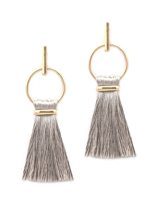 Jewelry Gray Fringe Earring with Gold Hoop