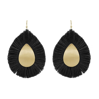 Jewelry Earring Black Fringe on Matte Gold Center Teardrop Shape Earring