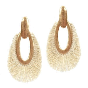 "Jewelry Gold Open Teardrop with Natural Fringe 2"" Earring"