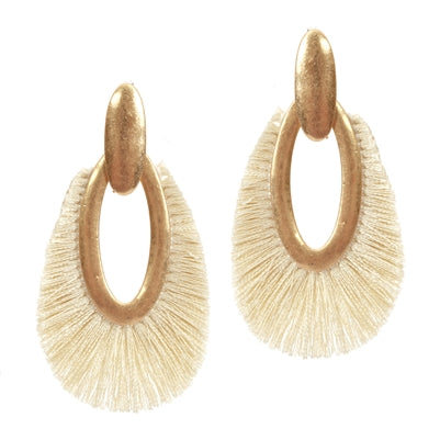 Jewelry Gold Open Teardrop with Natural Fringe 2