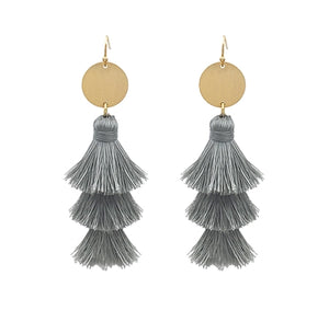 Jewelry Grey Fringe Earrings