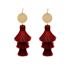 Jewelry Burgundy Fringe Earrings