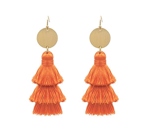 Jewelry Orange Fringe Earring