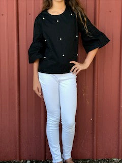 Black Bell-Sleeve Top with Pearl Accents