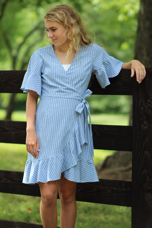 The Zuri Dress- Blue & White Wrap Dress
