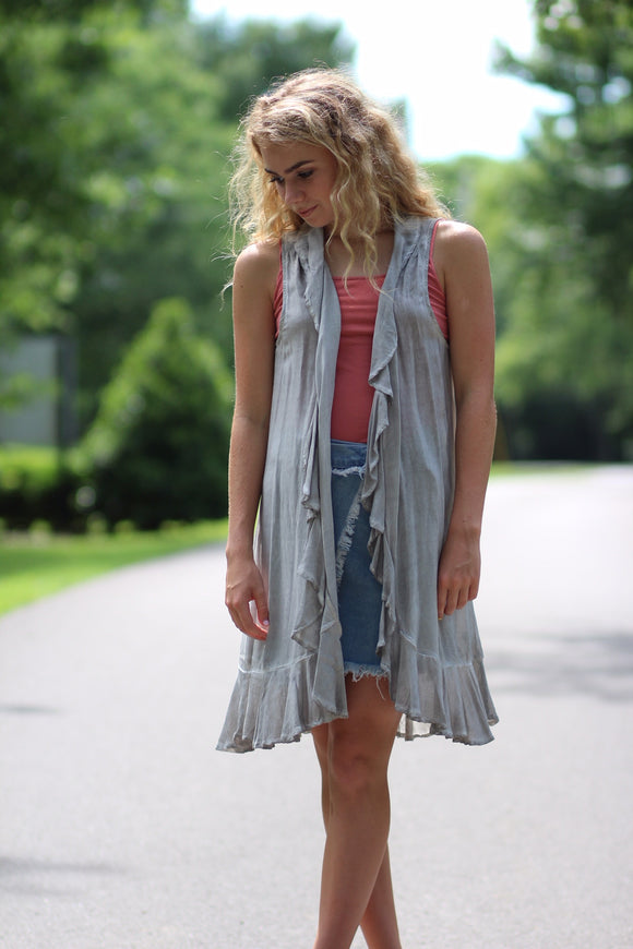 Long Charcoal Ruffle Vest