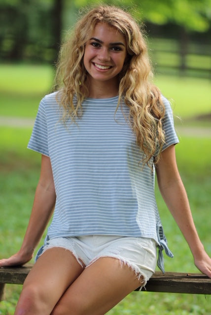 Blue and White Striped Short Sleeve Top