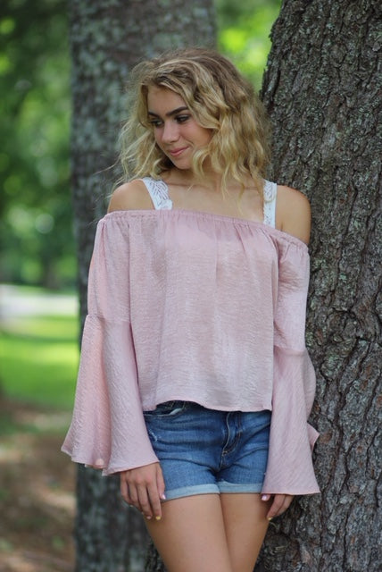 Blush Off the Shoulder Bell Sleeve Top