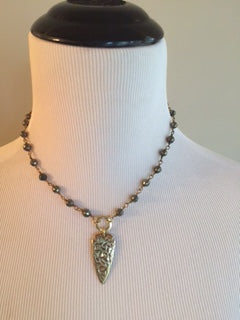 Jewelry Necklace Gun Metal Gray Beaded Necklace with Gold Arrowhead