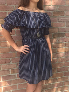 Off the Shoulder Navy Dress with Pinstripes