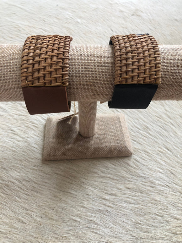 Leather and Rattan Bracelet