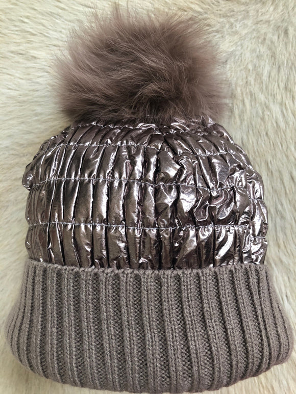 Rose Gold Metallic Beanie with Rose Gold Pom Pom