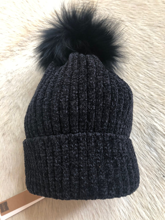 Black Beanie with Black Pom Pom