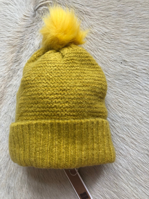 Yellow Beanie with Yellow Pom Pom