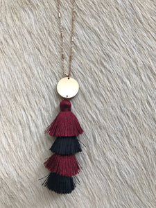 Maroon and Black Tassel Necklace