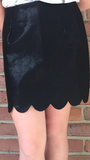 Scalloped Leather Black Mini Skirt