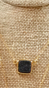 Jewelry Necklace Black Druzy Gold Necklace