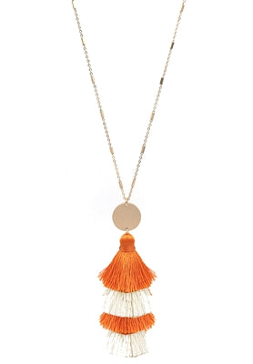 Jewelry Orange and White Layered Fabric Tassel with Gold Accent