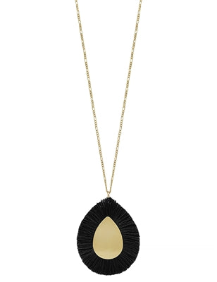Jewelry Necklace Black Fringe on Teardrop Matte Gold Center 34
