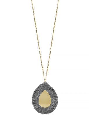 Jewelry Grey Fringe on Matte Gold Teardrop 34