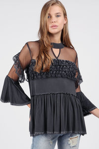 Charcoal Top with Bell Sleeves and Ruffle Detail.