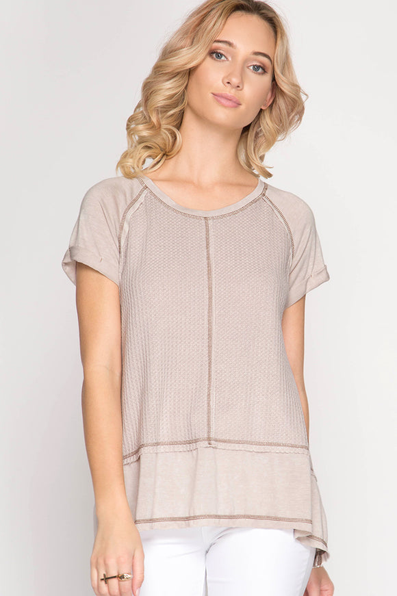 Light Taupe Short Sleeve Top