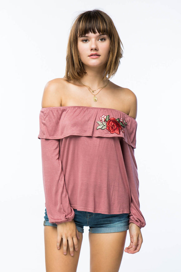 Off the Shoulder Ruffled Pink Top with Rose Appliqué