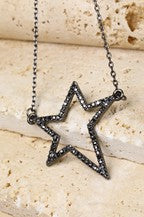 Jewelry Necklace Black Open Star & Pave Rhinestone Necklace