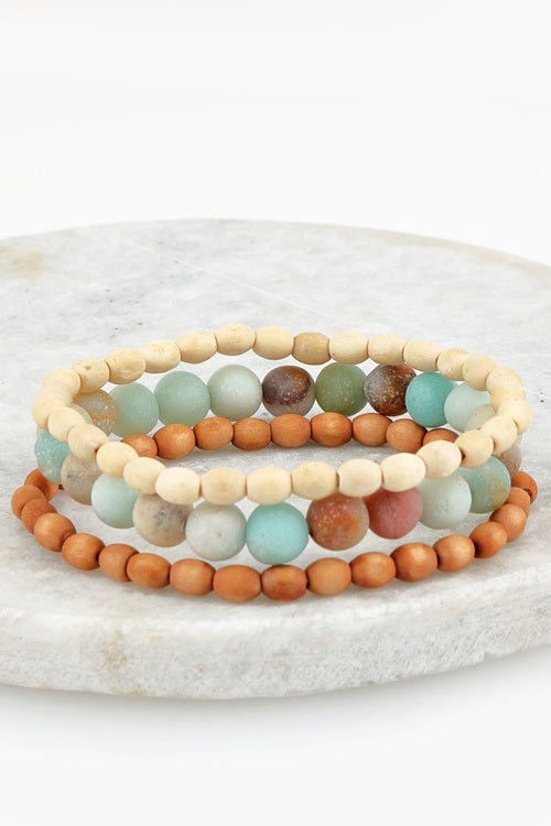 Jewelry  Bracelet Trio Amazonite Beads with Wood Bead Bracelet (Trio Set)