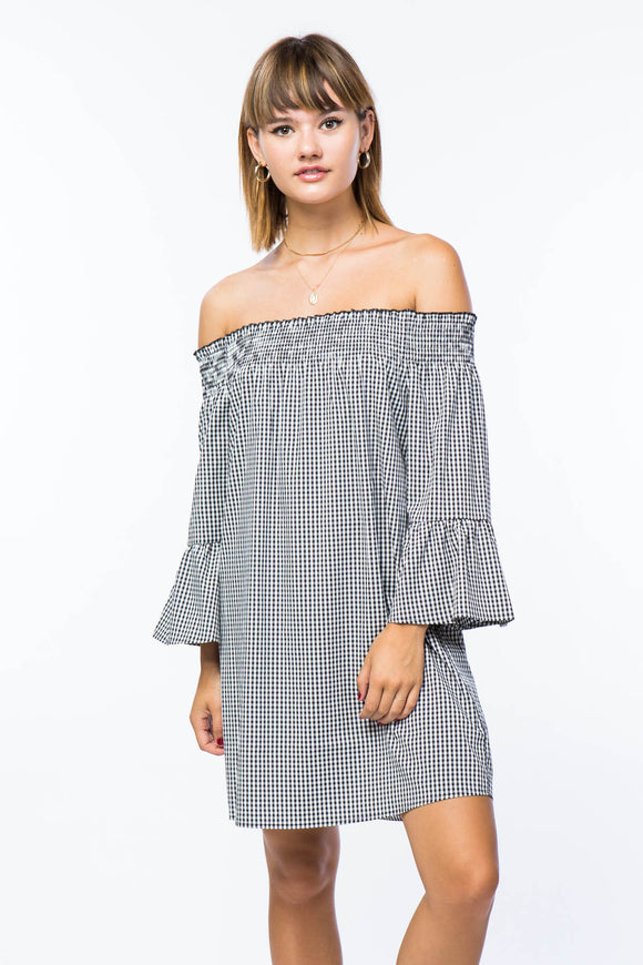 Black and White Gingham Off Shoulder Dress