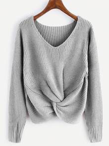 V-Neck Twist Front Tie Sweater. Color Grey