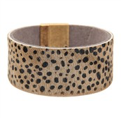 Jewelry Bracelet Cheetah Print Bangle with Magnet Closure- Grey