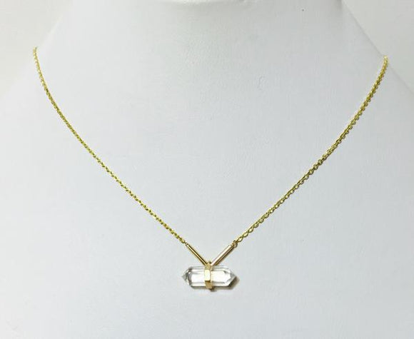Jewelry Necklace Gold with a Clear Cylinder Stone Accent