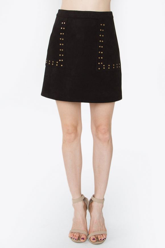 Black Studded Suede Skirt