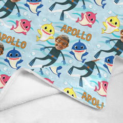 Personalized Kids Baby Shark blanket