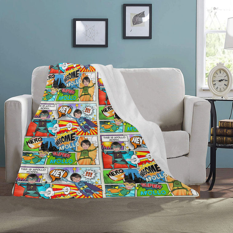personalized blanket for kids comic