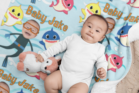 personalized baby shark kids blanket with face