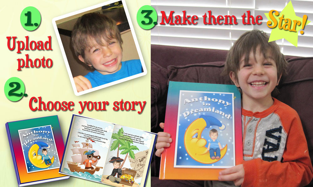 making personalized children's books by cutting out child's photo face