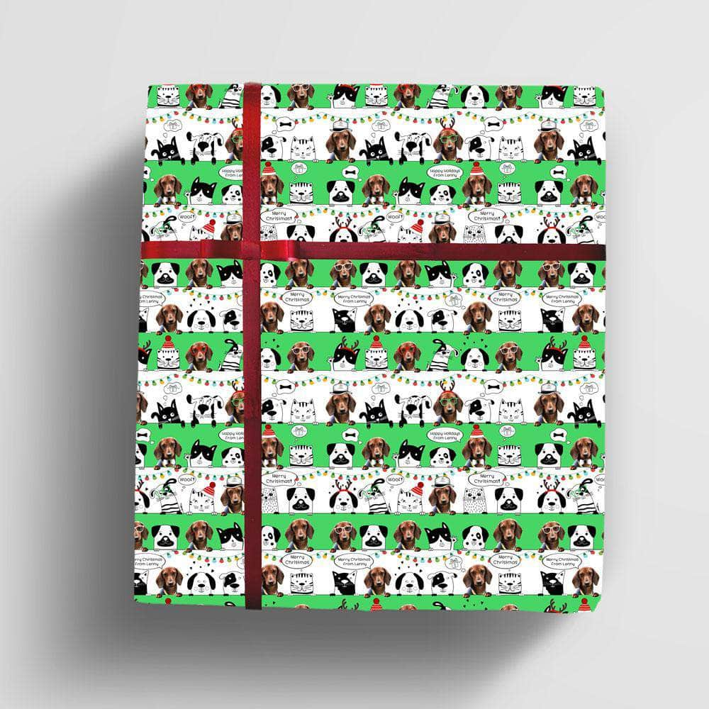 Personalized Pet Christmas Wrapping Paper xmas pet wrap