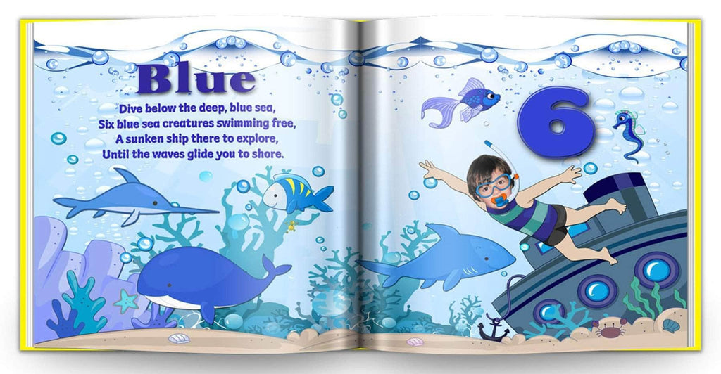 personalized children's book for kids to learn color blue