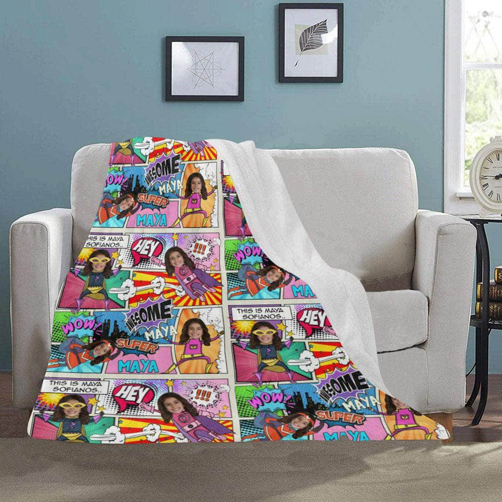 Personalized blanket with name and photo preview