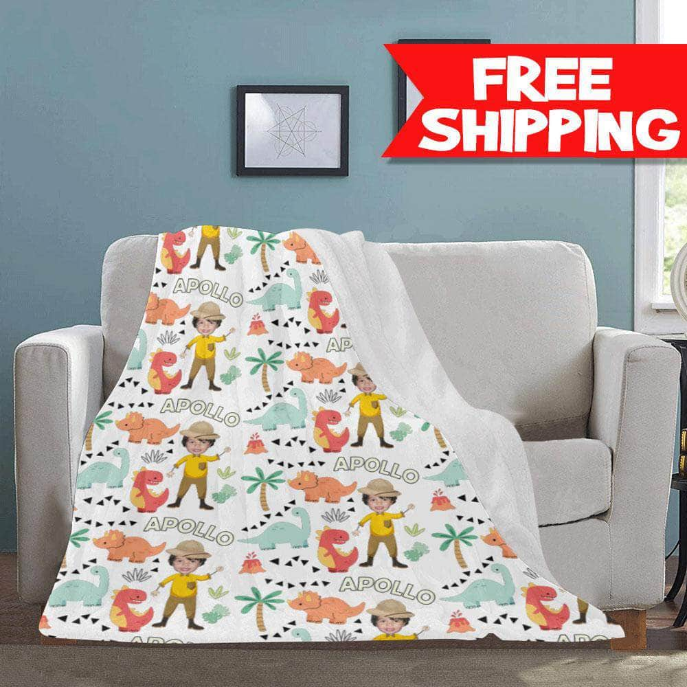 personalized dinosaur blanket for kids with photo and name