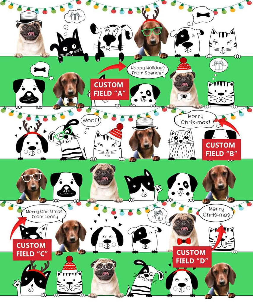 Personalized pet Christmas Wrapping Paper, with 1-5 photos