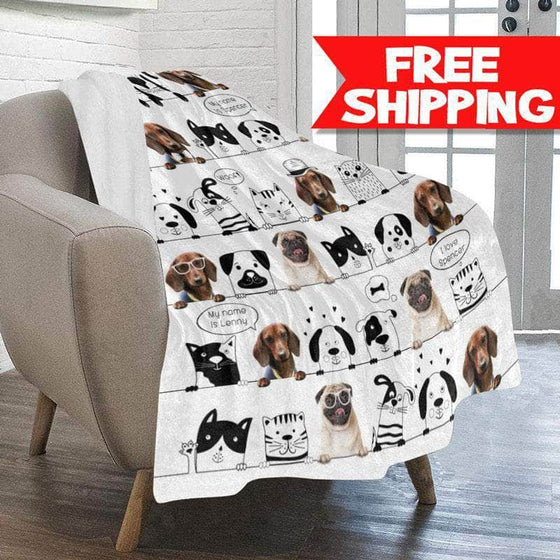 personalized pet blanket dog cat with photo free shipping