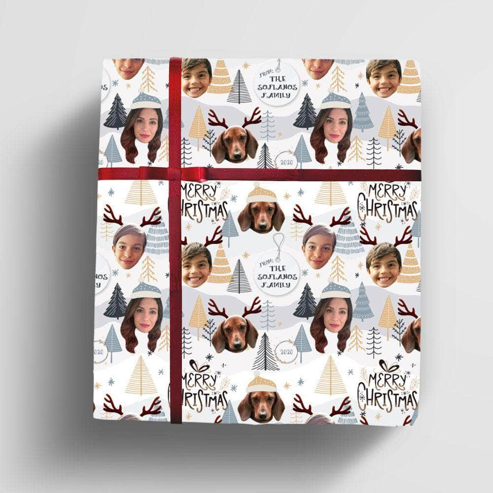 Personalized Christmas Wrapping Paper, with 1-5 photo faces