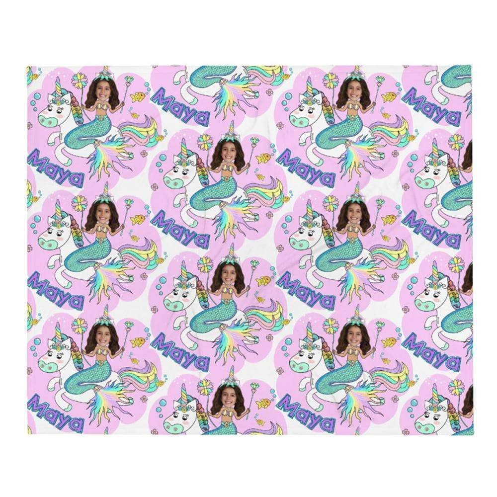 Pink Mermaid Unicorn Princess Blanket Personalized with photo name